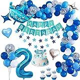 Decoracion Cumpleaños 2 Año, TOLOYE Cumpleaños 2 Año Bebe Niño Globos Decoracio,Azul Pancarta de Feliz Cumpleaños , Globos Papel de Aluminio Corazón Estrella para Fiesta Cumpleaños Baby Showers