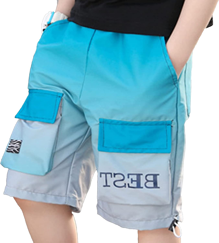Freebily Kids Boys Casual Soft Shorts Summer Cotton Elastic Waistband Loose Shorts with Pockets for Sports Playwear