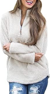 Women Long Sleeve Pullover Jumper Zipper Fleece Top Sweaters