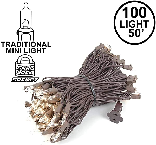 Novelty Lights 100 Light Clear Christmas Mini String Light Set Brown Wire Indoor Outdoor UL Listed 50 Long