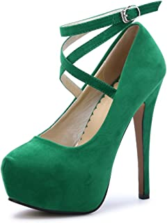 137fad95a07 OCHENTA Women s Ankle Strap Platform Pump Party Dress High Heel