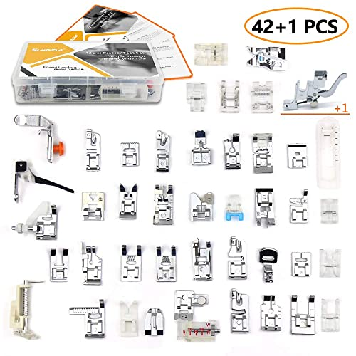 43 pcs Presser Feet Set with Manual & Adapter SIMPZIA Sewing Machine Foot Kit Compatible for