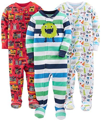 Simple Joys by Carter's pijama de algodón para bebés y niños pequeños, 3 unidades ,Monster/Fire Truck/White ,12 Meses