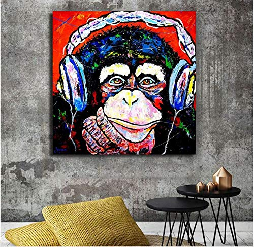 wtnhz Denkender AFFE farbig auf Vlies Leinwand Wohnzimmer Schlafzimmer Wohnkultur Gemälde 50x50cmKein Rahmen