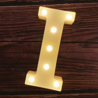 MUMUXI LED Marquee Letter Lights 26 Alphabet Light Up Marquee Number Letters Sign for Wedding Birthday Party Battery Powered Christmas Lamp Night Light Home Bar Decoration (I)