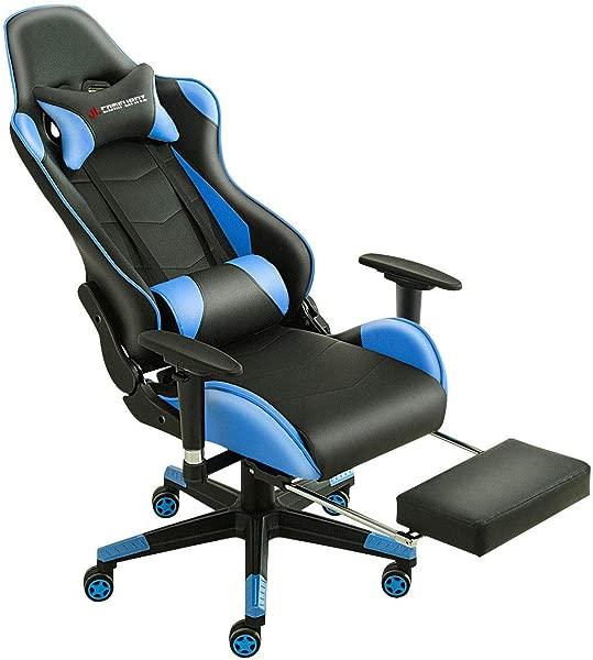 JL Comfurni 升级版电竞椅脚凳办公椅可躺人体工学高背 pu皮台赛车椅转椅电脑椅子可调节头枕与腰部支撑的成年蓝