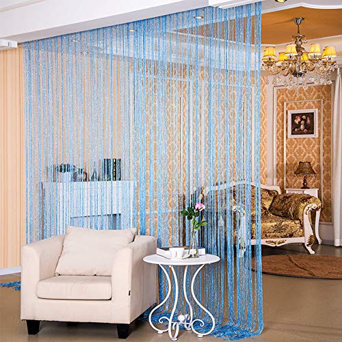 """Desirable Life Decorative Door String Curtains Wall Panel Tassels Blinds Room Divider for Wedding Party Restaurant Home (Blue, 39.4"""" x78.7"""")"""