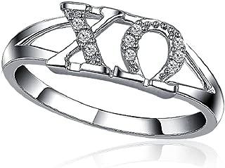 Chi Omega Horizontal Silver Ring