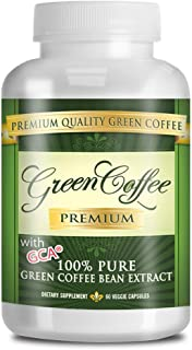 Green Coffee Premium: 100% PURE GreenCoffee Bean Extract - 50% Chlorogenic Acid - 60 Capsules - Quick Fat Burner (1 bottles)