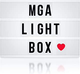 MGA Cinematic Light Box   Customizable A4 Cinema LED Lightbox - Make Your Own Message with 166 Letters, Numbers, Symbols and Emojis   Battery or 1.5m USB Cable Powered   Vintage Style Home Decoration