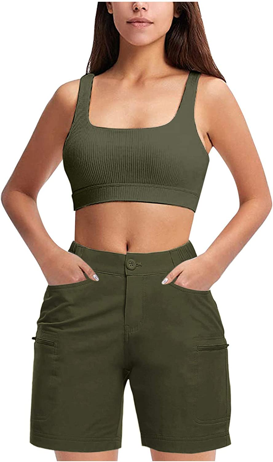 Nihewoo Shorts for Women Plus Size Active Summer Easy-to-use Outdoor Hiking Spring new work