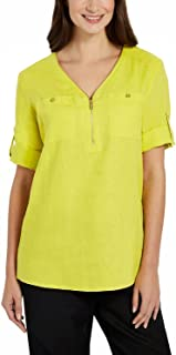 Ellen Tracy Ladies' Roll Tab Linen Tunic (Assorted Colors) (Large, Limeade)