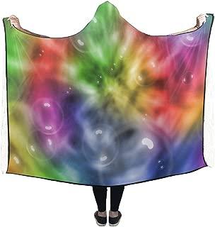 WUTMVING Hooded Blanket Pattern Colors Rainbow Tie-dye Tie Dye Blanket 60x50 Inch Comfotable Hooded Throw Wrap