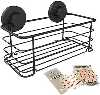 Gecko-Loc Deep Shower Shelf Caddy Storage Basket Shampoo Conditioner Holder w Vacuum Suction Cups No Hooks No Drilling - Sponge Shampoo Conditioner Holder- Black SS - Adhesive DISKS Now Include