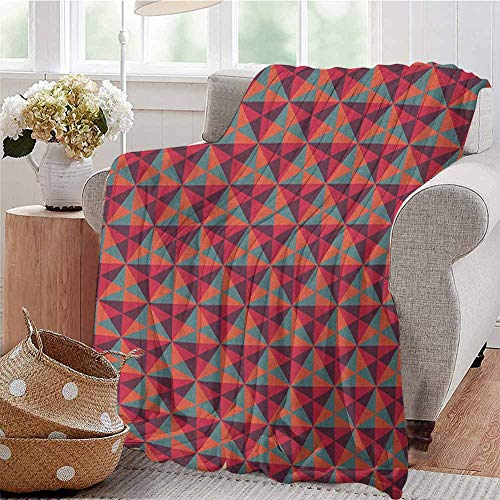 fenlin Geometric Luxury Special Grade Blanket Triangle Dimension Fractal Figures Modern Style Mosaic Hexagon Graphic Multi-Purpose use for Sofas etc. W70 x L90 Inch Reseda Green Ruby Red