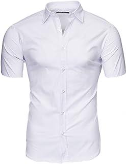Taglie S-6XL Kayhan Monaco Camicia da Uomo a Maniche Corte Slim-Fit