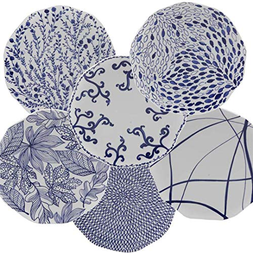 Nador Mix Assiettes en porcelaine Bleu 0,1 x 0,1 x 0,1 cm
