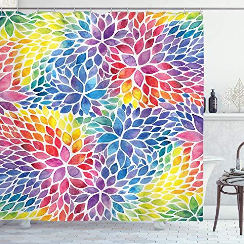 ABAKUHAUS Bunt Duschvorhang, Regenbogen Farbige Blätter, Klare Farben aus Stoff inkl.12 Haken Farbfest Schimmel & Wasser Resistent, 175 x 220 cm, Multicolor