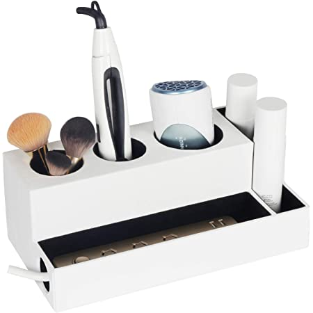 VICKERT Rustic Wooden Hair Dryer Holder Hair Dryer Organizer Hair Dryer Holder with 3 Cups,Hair Tools and Styling Supplies Organizer and Storage for Vanity and Bathroom