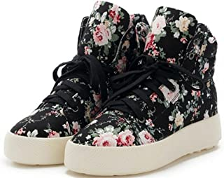 ACE SHOCK Canvas Shoes for Women Flat, Fashion Floral High Top Lace-up Casual Sneakers 2 Colors Size 5.5-7.5