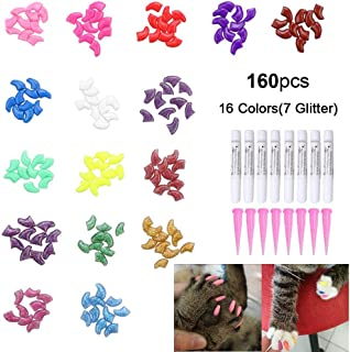160Pcs Pet Nail Caps, OWUDE Soft Cat Paws Grooming Claws Control Covers, 9 Colorful Kitten Nails Caps + 7 Glitter Colors + 8Pcs Adhesive Glue + 8Pcs Applicator with Instructions