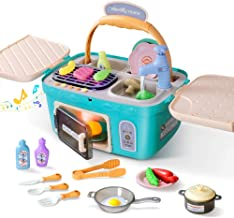 Play Kitchen Pretend Toy for Kids,Picnic & Kitchen Playset Portable Basket Toys with Music & Light,Color-Change-Foods Play...