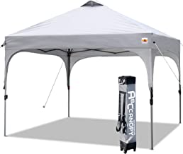 ABCCANOPY Canopy Tent 10x10 Pop Up Canopy Outdoor Canopies Portable Tent Popup Beach Canopy Shade Canopy Tent with Wheeled Carry Bag Bonus 4 Weight Bags, 4 x Ropes& 4 x Stakes, Gray