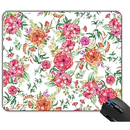 Mauspad Böhmisches Rosa Korallenrotes Grünes Aquarell-Rosen-Blumen-Spiel-Kundenspezifische Mausunterlage Gummi Rutschfestes Mousepad 22x18cm