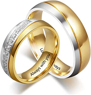 Personalized Couple Rings for Him and Her Sets Free Engraving Promise Rings for Couples Stainless Steel Couples Rings Sets Wedding Bands Sets for Him and Her