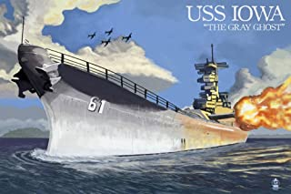USS Iowa - The Gray Ghost (12x18 Fine Art Print, Home Wall Decor Artwork Poster)