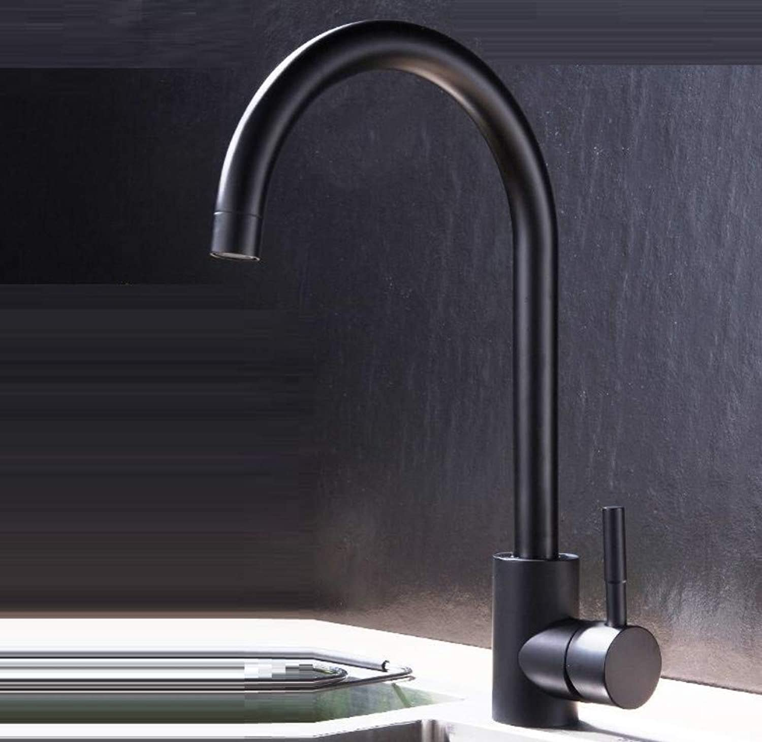 Bathroom Faucet Black 304 Stainless Steel Sink Faucet Sink Sink Kitchen Faucet Hot and Cold Double Home Can Be redated