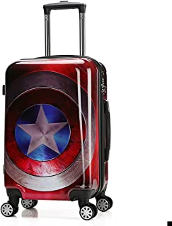 18 inch Children Carry On Luggage Superheroes Captain America Hardside Rolling Suitcase Carryon Travel Case Cartoon Trolley Suitcase Universal Wheels Baggage Boys Endgame Shield Artwork Trolley Bag
