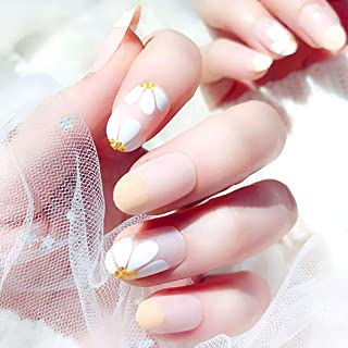 Drecode 24Pcs False Nails Daisy Flower Bling Sequins Fake Nails Wedding Birday Party Acrylic Nails for Women and Girls