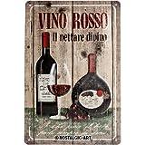 Nostalgic-Art 22120 Plaque en métal Vino Rosso [en Italien] 20 x 30 cm