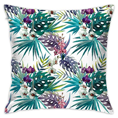 AOOEDM Leaves Personalized Square Woven Decorative Cotton Linen Single Pillowcase Cushion Cover for Sofa Sofa Or Bed Set 18x18 Inches