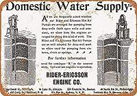 ユニークな壁の装飾インチ、1899ライダーエリクソン熱風井戸ポンプ、壁サイン面白い鉄絵ヴィンテージ金属プラーク装飾警告サイン吊るしアートワークポスターバーパーク