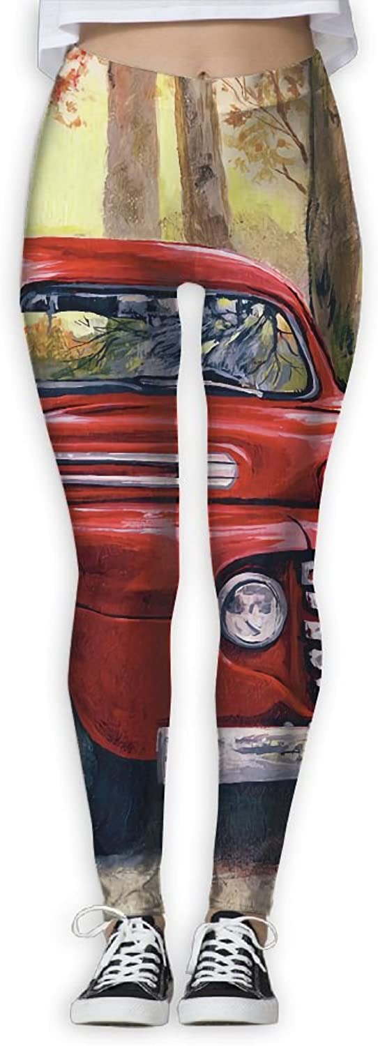 EWDVqqq Girl Yoga Pant Vintage Painting  Vintage Red Pick up Truck High Waist Fitness Workout Leggings Pants