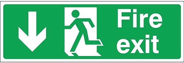 Fire Exit Arrow Down, Rigid, 30x10cm