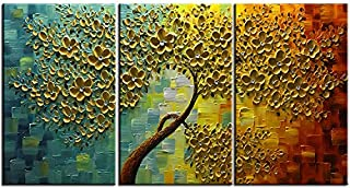 baccow Oil Paintings 3 Panel Wall Art 28203, Abstract 3D Flowers Trees Painting Canvas Palette, Hand Painted Framed Teal Wall Art for Living Room Bedroom Dining Room Office Home Decoration in Metal