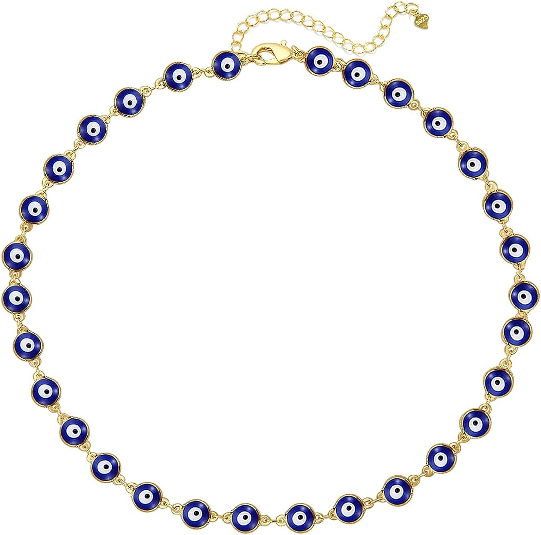 YANCHUN Evil Eye Choker Necklace Evil Eye Minimalist Necklace Protect Lucky Necklace for Women Men