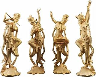 繁樓藝雕 飛天四音 手琴侍女 腰鼓侍女 明笛侍女 琵琶侍女 置物 木製彫刻 高級天然ツゲ 彫工芸品 柘植の木