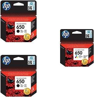 HP CZ101AK 650 Black Ink Cartridges, 2 Piecesand HP CZ102AK 650 Tri Color Ink Cartridge