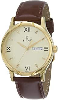 ساعة تيتان كاريشما للرجال بمينا ذهبي فاتح بسوار جلدي - T1580YL05
