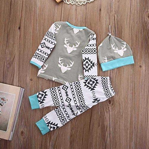 Kid Baby outfit, Fhouses ragazze vestiti ragazzo Natale cervo pantaloni tutina + cappello (12M)