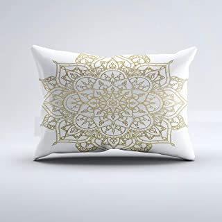 Zippered Pillow Covers Pillowcases One Side 12x20 Inch Gold Mandala White Chic Glamour Modern Glam Pillow Cases Cushion Cover for Home Sofa Bedding