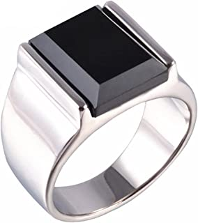 Stainless Steel Vintage Square Black Onyx Band Ring for Men