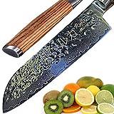 RUKA - Cuchillo de cocina Santoku de acero de Damasco, 19 cm, aspecto martillado, acero japonés VG-10 de 67 capas, cuchillos Santoku Damasco con mango ergonómico