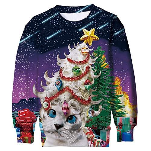 ALISISTER Enfants Garçons Filles Pull Noel Ugly Chats Imprimer Christmas Pullover Sweatshirt...