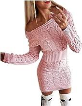 Aunimeifly Women's Autumn Winter Sweater Dress Ladies Sexy Slim Fit Long Sleeve Twisted Dresses Club Bodycon Dress