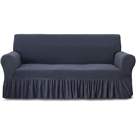2//3 Seater Stretch Sofa Slipcover Seersucker Armchair Protector w// Ruffle Skirt